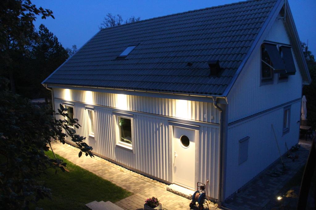 Husets baksida med groventrén