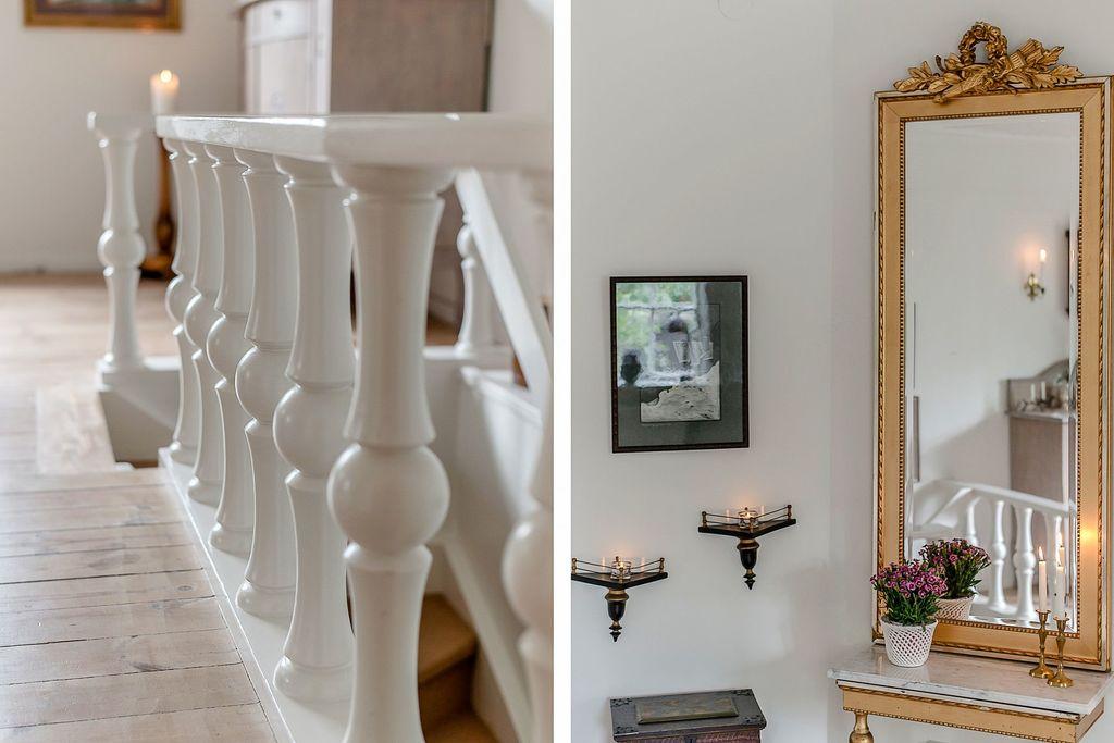 Detaljbild på trappan i vardagsrummet