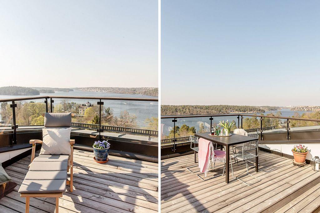 Underbar terrass med utsikt över Mälaren och stan