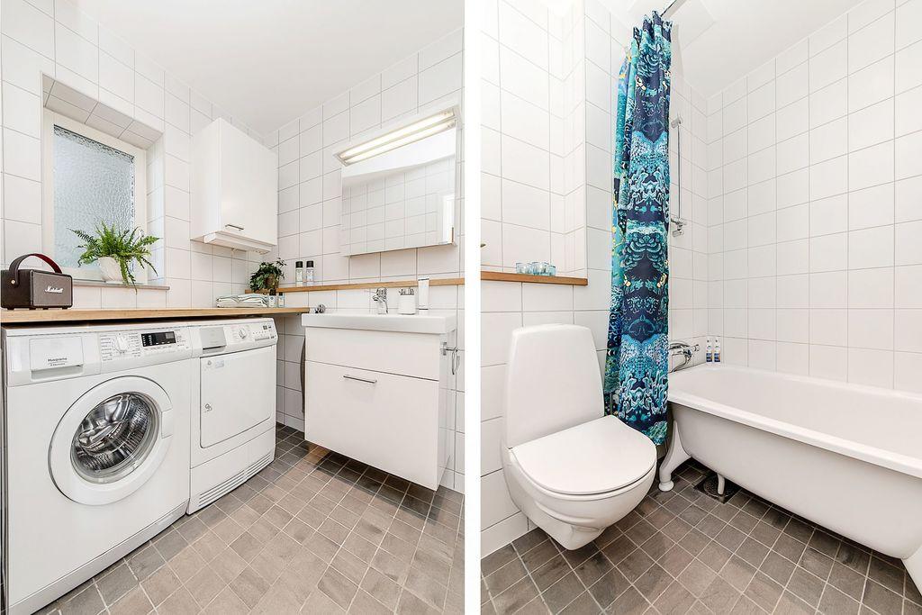 Det nedre badrummet med tvättavdelning