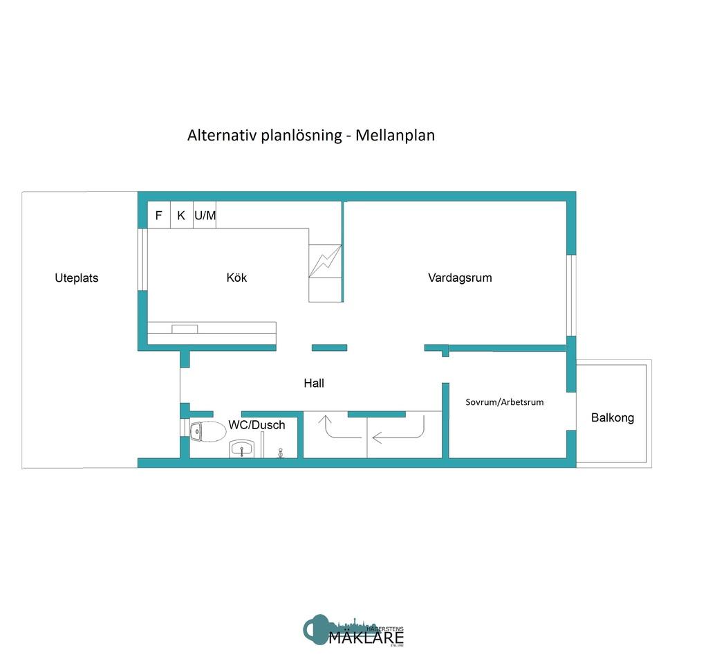 Alternativ planlösning - Mellanplan