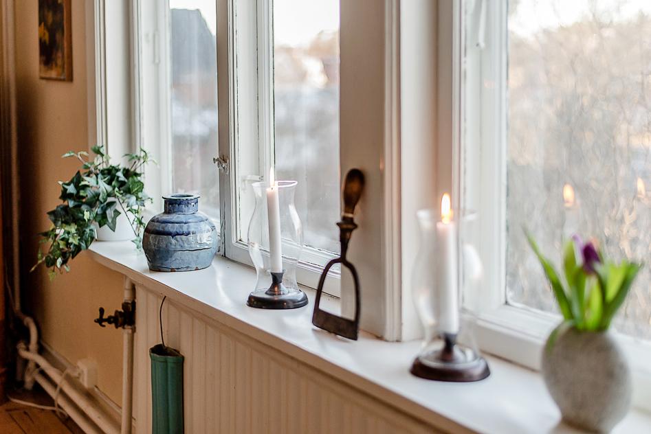 Vackert fönsterparti i matsalen