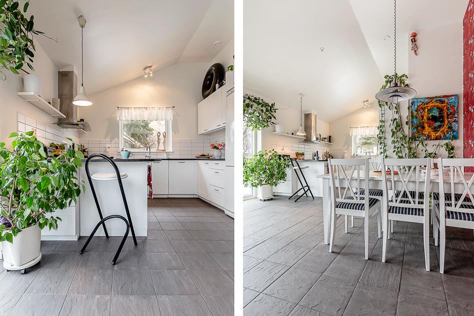 Kök och matplats från två vinklar