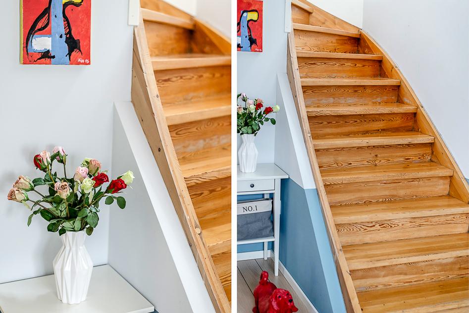 Närbilder i den nedre hallen och på trappan