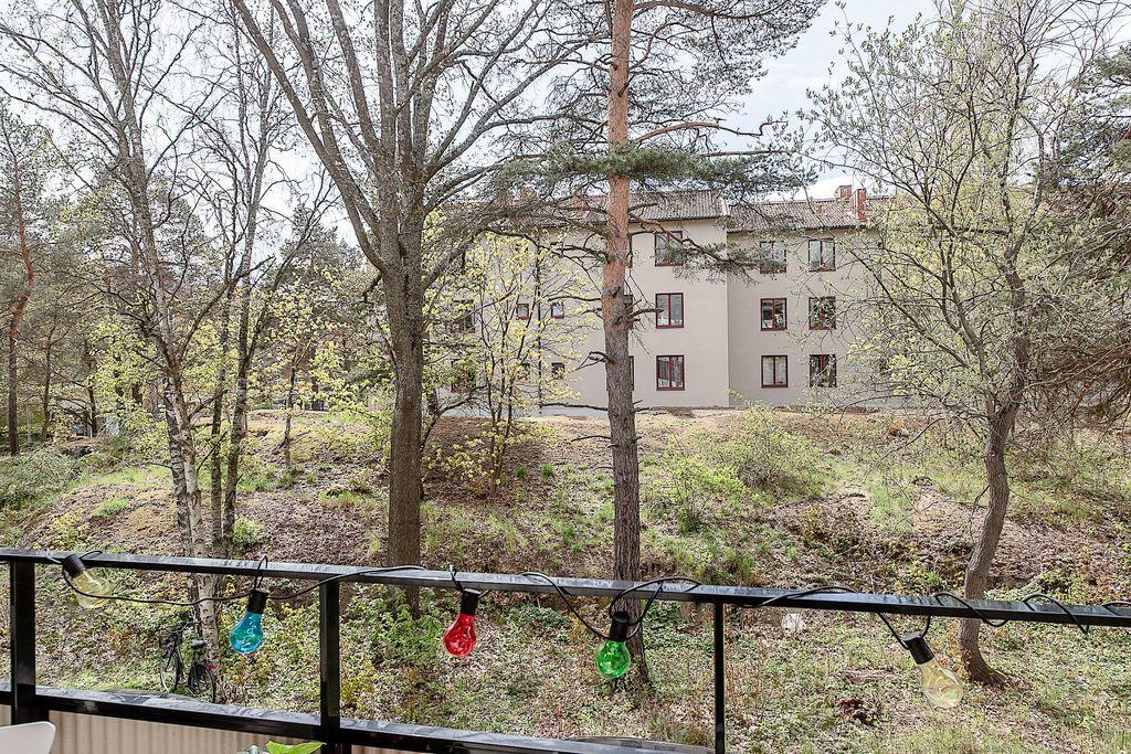Utsikt från balkongen mot grönska
