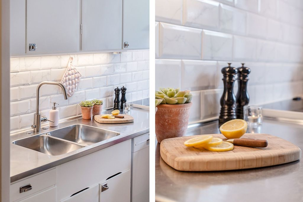 Detaljbilder i köket mot diskbänken