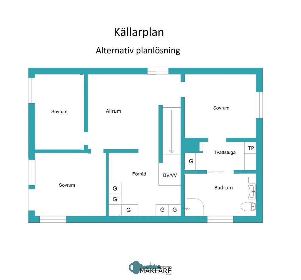 Alternativ planlösning - Källarplan