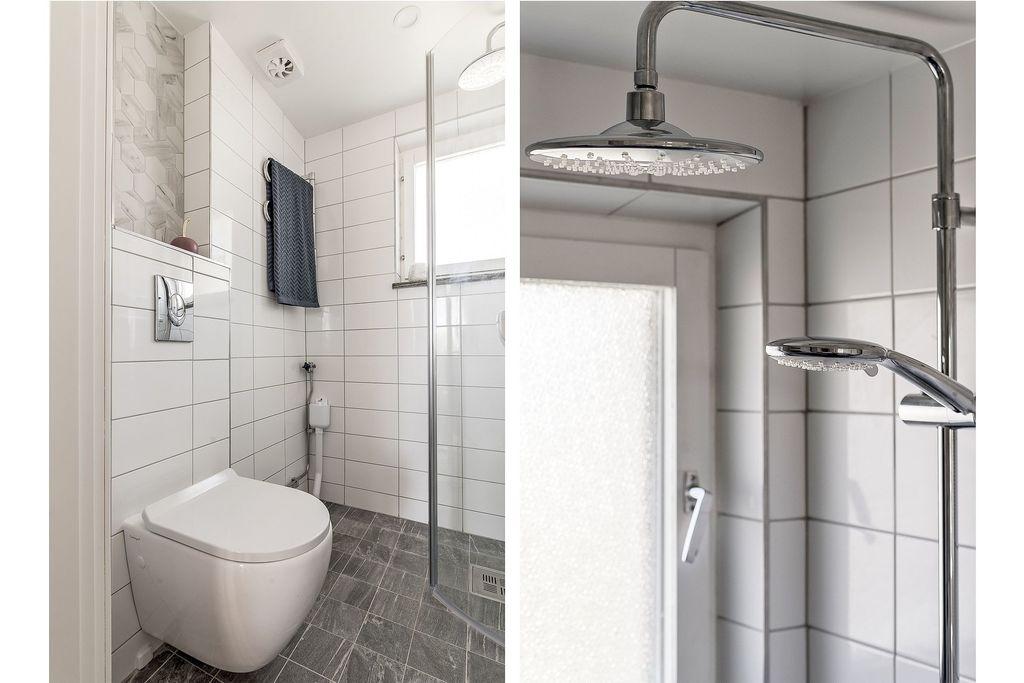 Badrum med takdusch och vägghängd wc-stol