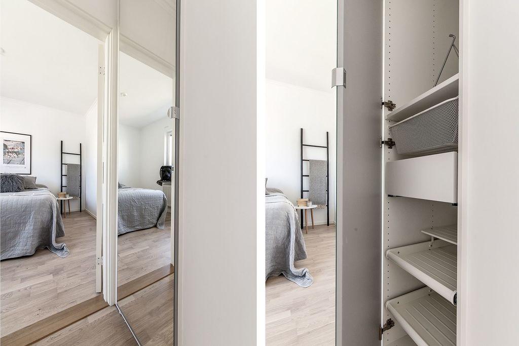 Glimt av sovrum och garderob