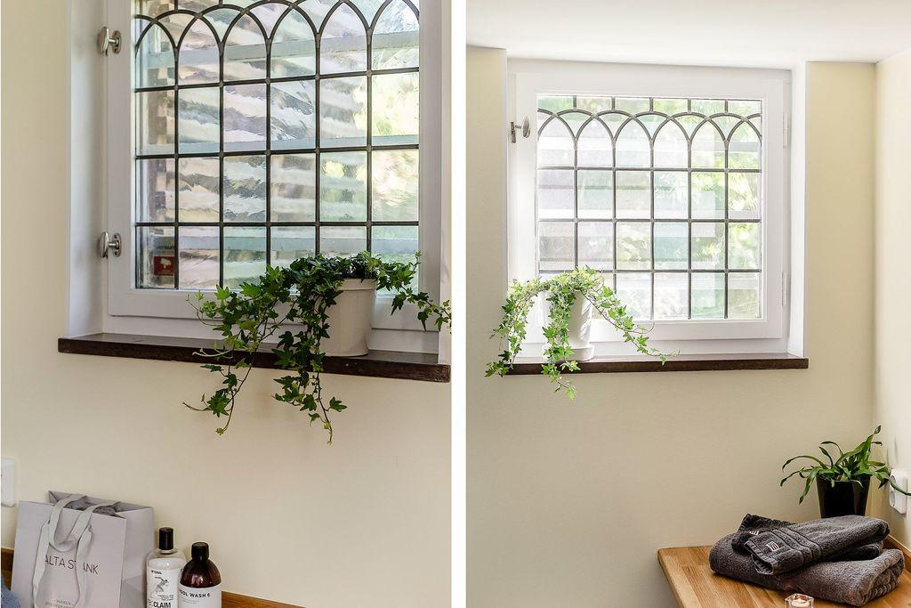 Blyinfattade fönster i bland annat tvättstugan