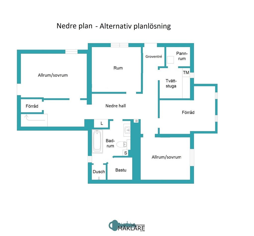 Nedre plan - Alternativ planlösning