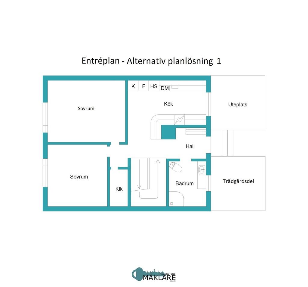 Entréplan - Alternativ planlösning 1