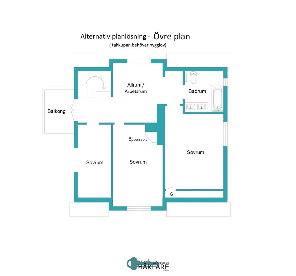 Alternativ planlösning - Övre plan