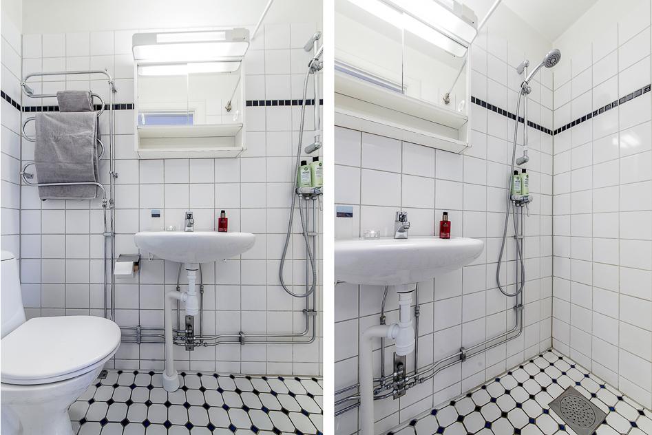 Badrum, vitkaklat, med dusch