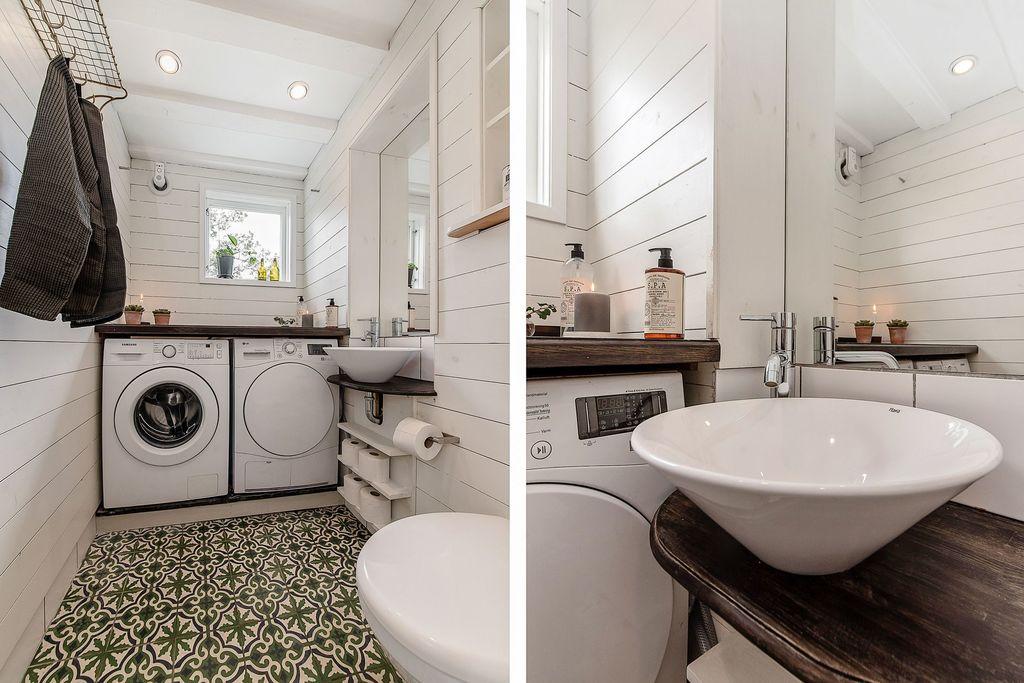 Detaljbilder i tvättstugan med gästtoalett