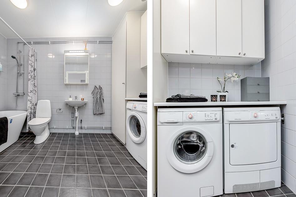 Fräscht badrum på entréplan med tvättavdelning