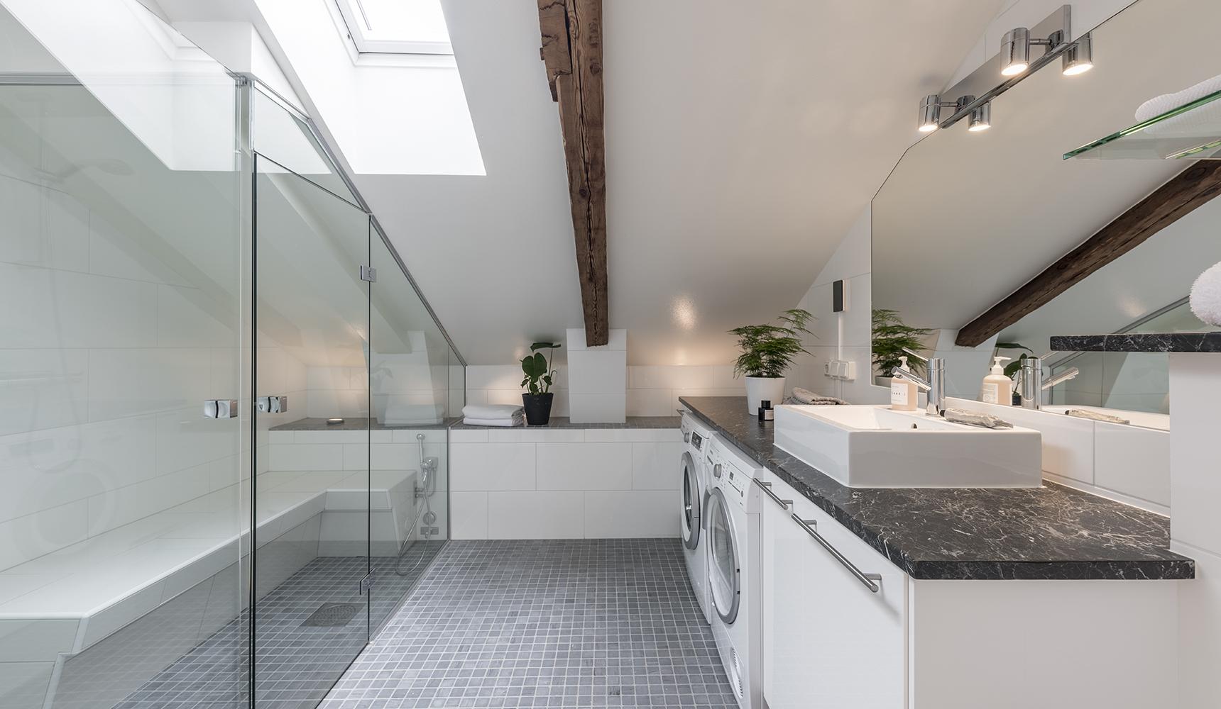 Lyxigt badrum med ångbastu och dusch