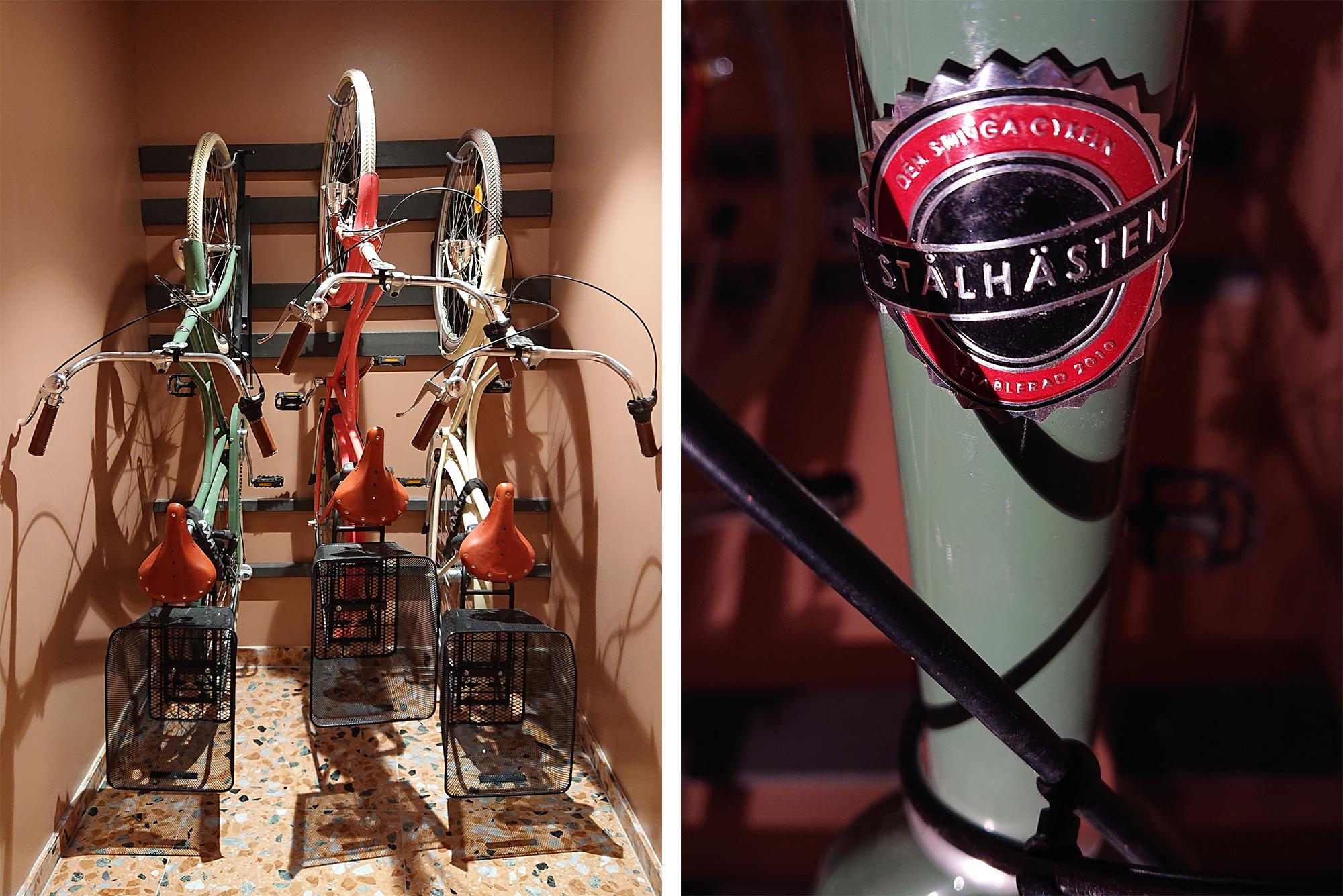 Smart upphängning till cyklarna. Dessa är dessutom lånecyklar.