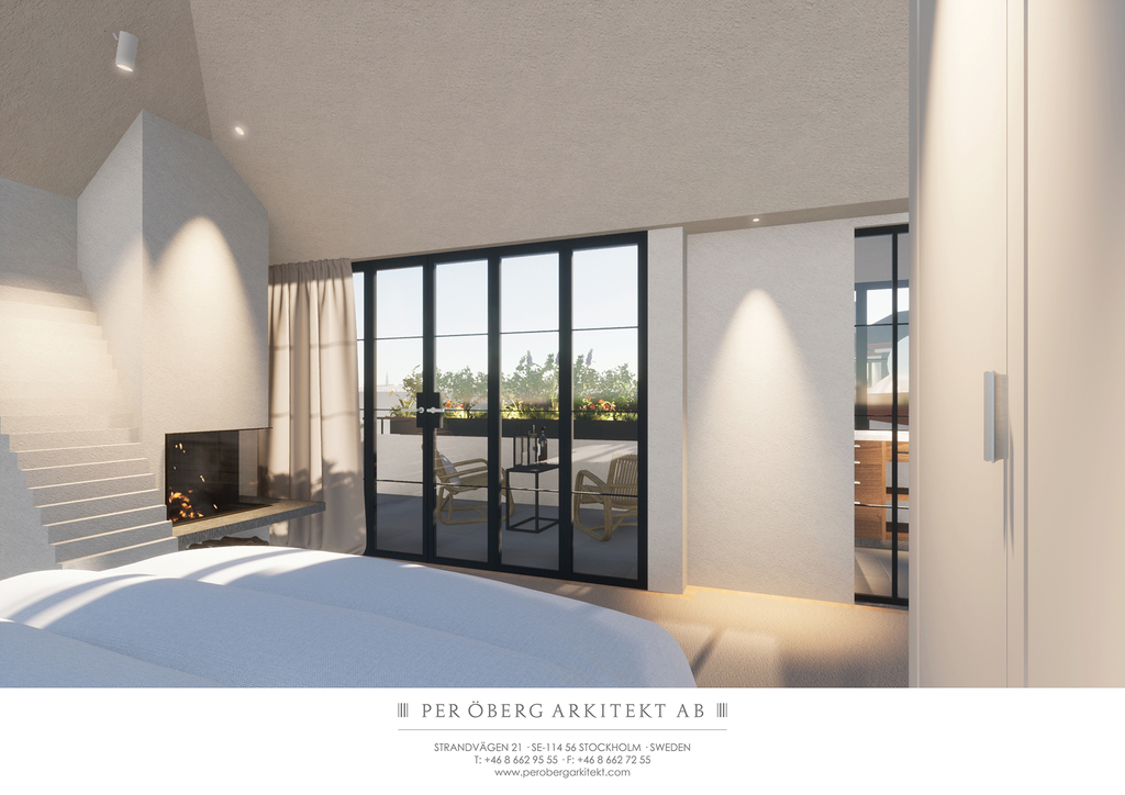 Illustration - Master bedroom mot altan